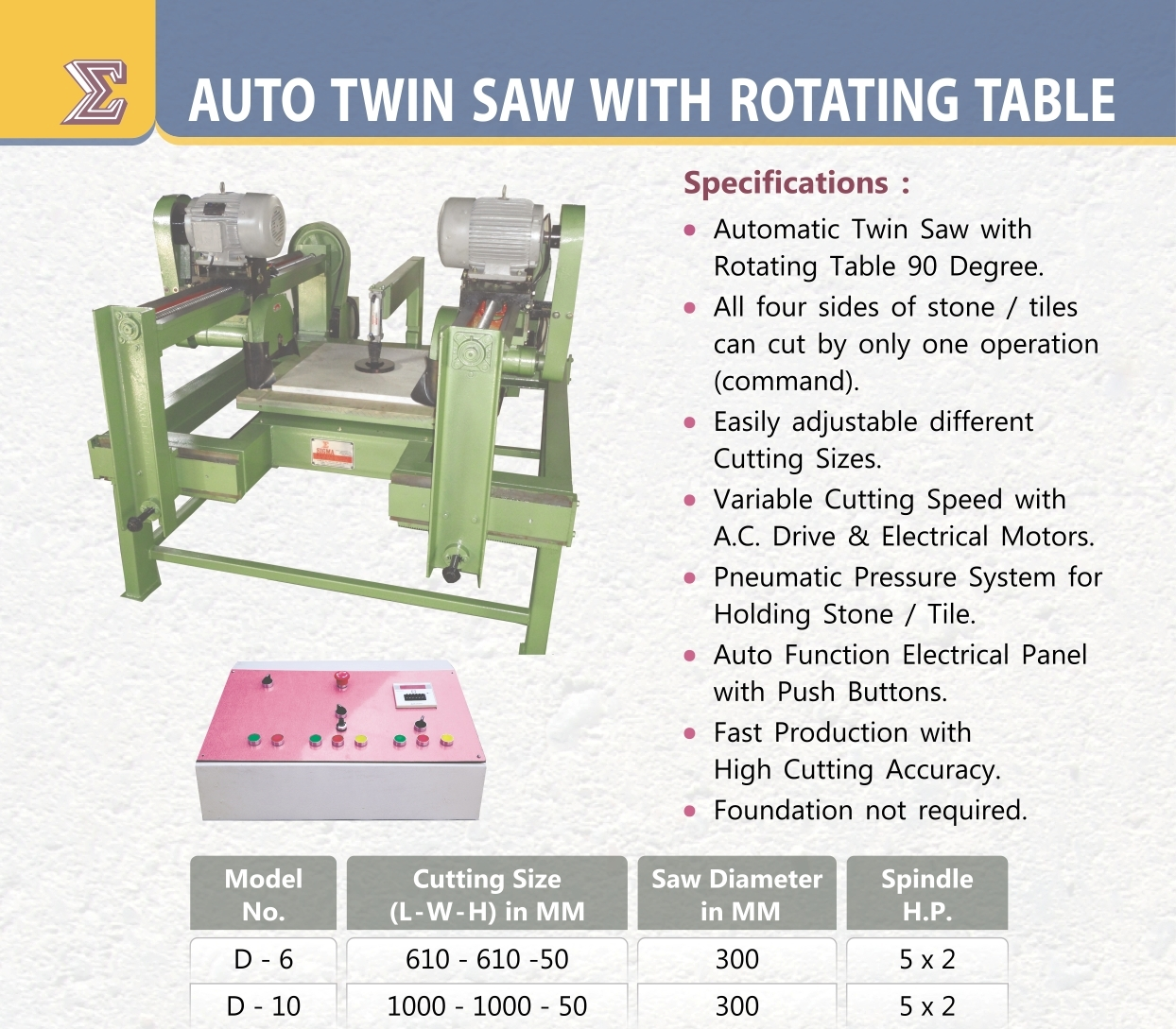 CF SMT Auto Twin Saw with Rotating Table D-6