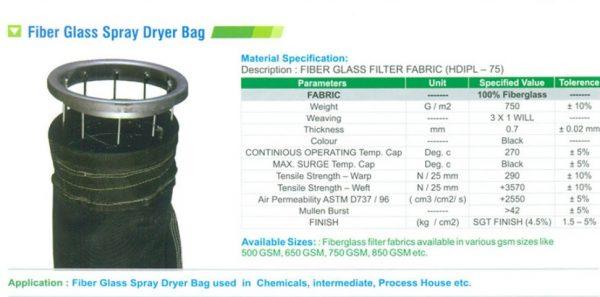 CF PGB Fiber Glass Spray Dryer Bag