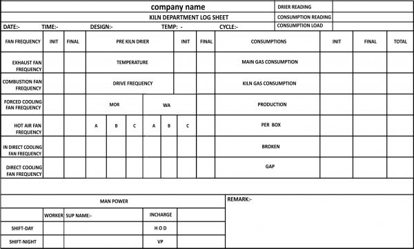 KILN DEPARTMENT LOG SHEET