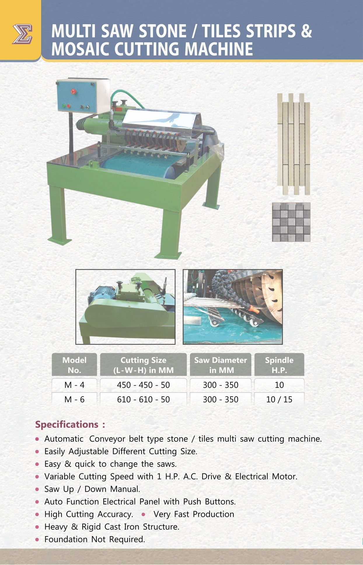 CF SMT Multi Saw Stone/Tiles Strips & Mosaic Cutting Machine M-4
