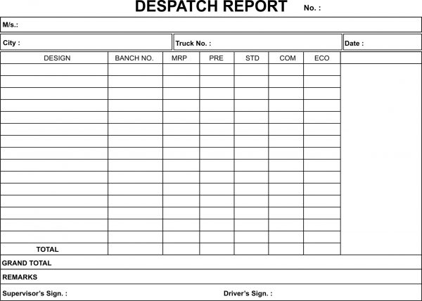 DISPATCH REPORT BOOK